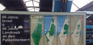 "Plakat der ""Palästina-Solidarität"" am Zürcher Hauptbahnhof."