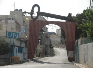 El Aida Flüchtlingslager in Bethlehem: ein handgeschmiedeter Eisenschlüssel symbolisiert das Rückkehrrecht für die Flüchtlinge. Foto Ulrich W. Sahm