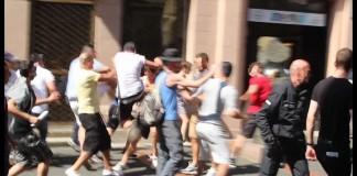 """Demonstration für Gaza"" greift GegendemonstrantInnen in Göttinger Fussgängerzone an, Foto: Blog monstersofgoe"