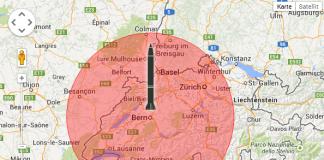 Die Reichweite einer M-302 beträgt 160 km und hat einen Sprengkopf von 144 kg. Zum besseren Verständnis haben wir Reichweite an der Stadt Bern illustriert: