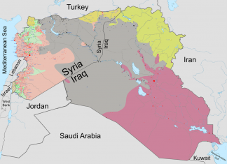"""""""Syria and Iraq 2014-onward War map"""" by Haghal Jagul - Licensed under Creative Commons Zero, Public Domain Dedication via Wikimedia Commons"""