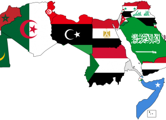 """A map of the Arab World with flags"" Licensed under Creative Commons Attribution 3.0 via Wikimedia Commons"