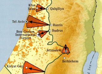 An excerpt of a map showing threats to Israeli population centers from the West Bank. Jerusalem Center for Public Affairs.