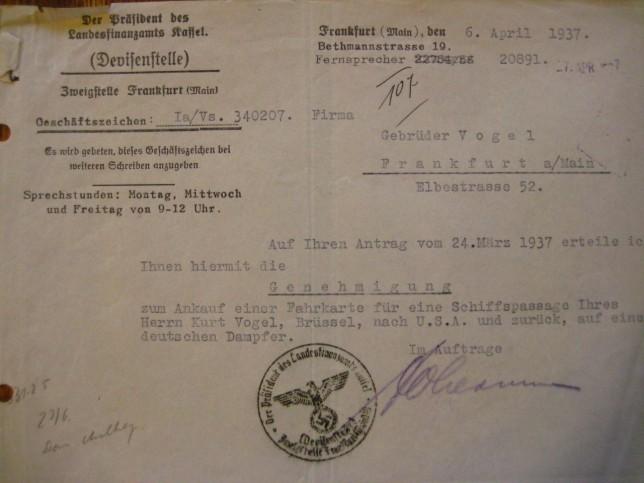 Warum Schmuggel im BH? Die sagenumwobene Schiffskarte für Kurt Vogel durfte ganz offiziell gekauft werden. Foto: Hessisches Hauptstaatsarchiv Wiesbaden (HHStaW)