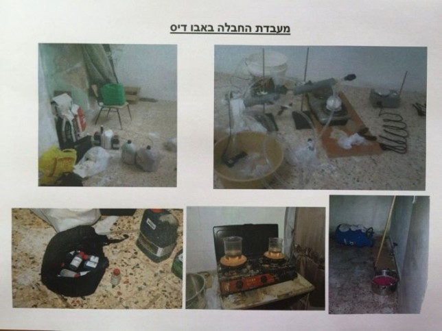 Sprengstofflabor. Foto Shin Bet