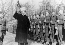 Der Grossmufti von Jerusalem bei den bosnischen Freiwilligen der Waffen-SS. Foto Deutsches Bundesarchiv