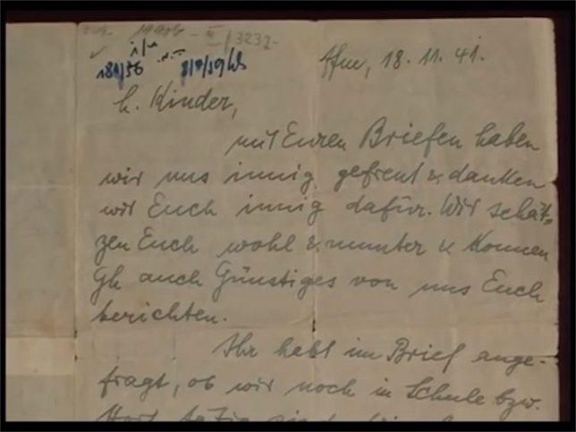 Auszug eines Briefes vom 18. November 1941. Foto Screenshot Youtube / Yad Vashem