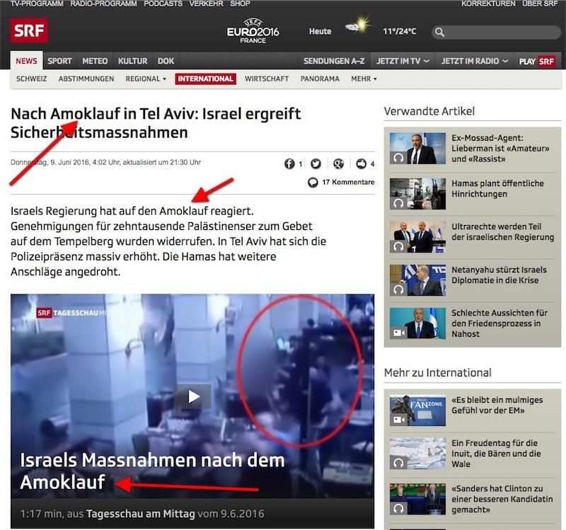 Für das Schweizer Fernsehen SRF war der Terroranschlag am 09. Juni ein Amoklauf. Foto Screehsot SRF.ch