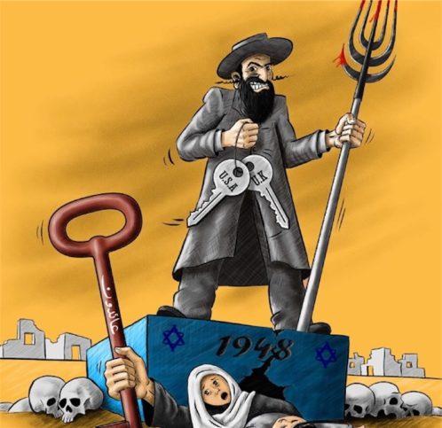 Antisemitische Karikatur auf der Website der NGO Badil. Foto Badil Website / NGO-Monitor  http://www.ngo-monitor.org/reports/badil_s_antisemitic_cartoon_questions_for_danchurchaid_trocaire_and_funders/