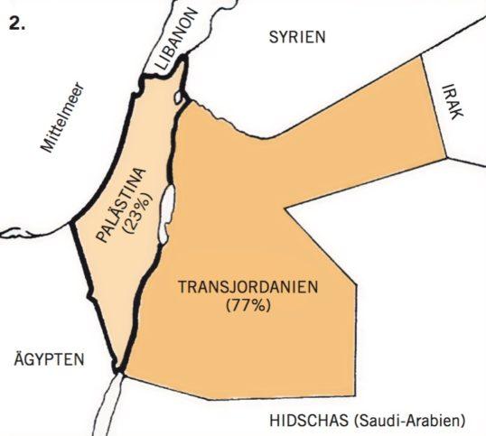 1922 ignorierte England die Zusage an die Juden und reduzierte das Mandatsgebiet um 77% zwecks Schaf- fung des arabischen «Transjordanien» (heute Jordanien). Dem Palästinamandat blieben noch 23%. Foto Ethos/Lema'an Zion, Inc
