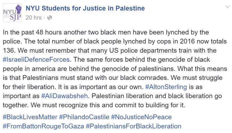 """Facebookeintrag von """"Students for Justice in Palestine"""". Foto Screenshot Facebook"""