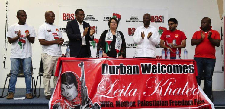 Leila Chaled an einem Event von BDS South Africa. Frau Chaled ist ein führendes Mitglied der Terrororganisation Volksfront zur Befreiung Palästinas (PFLP) und war eine der ersten weiblichen Flugzeugentführer der Geschichte. Foto BDS South Africa / Facebook