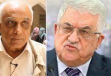 """Professor Abdul Sattar Qassem (links) muss mit einem Verfahren wegen """"Herausstreckens der Zunge"""" gegen den Präsidenten der Palästinensischen Autonomiebehörde (rechts) und andere hochrangige PA-Vertreter rechnen. Foto Gatestone"""
