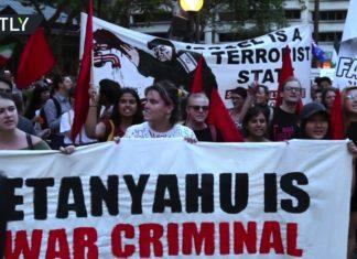 Anti-Israelische Kundgebung in Australien anlässlich des Besuches von Benjamin Netanyahu am 23. Februar 2017.Foto Screenshot Youtube