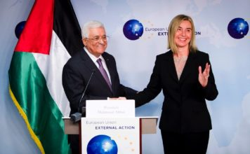 Mr Mahmoud ABBAS, President of the Palestinian Authority; Ms Federica MOGHERINI, High Representative of the EU for Foreign Affairs and Security Policy. Foto 'The European Union'