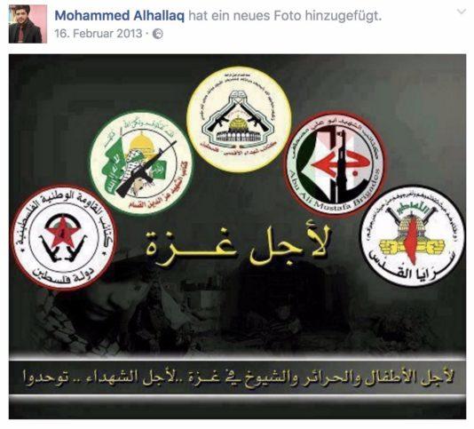 UNRWA Lehrer bewirbt palästinensische Terrororganisationen. Foto Facebook