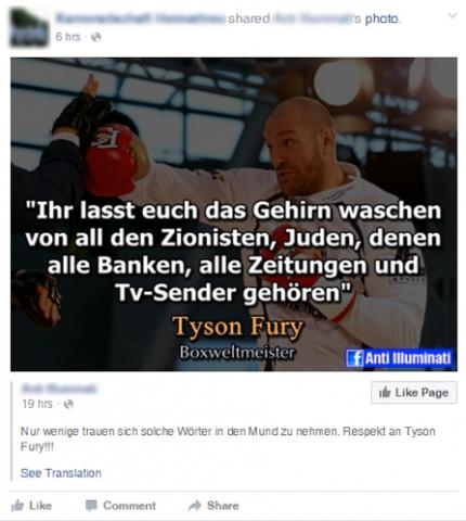 """Ein Facebookuser bewundert eine Person, die das Zitat """"Ihr lasst euch das Gehirn waschen von all den Zionisten, Juden, denen alle Banken, alle Zeitungen und Tv-Sender gehören"""" auf Facebook teilt. Foto Screenshot Facebook / zVg"""