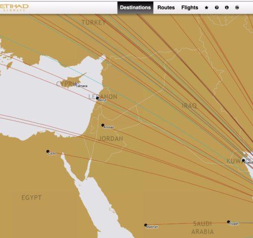 Kein Israel auf der Route Map bei der in Abu Dhabi stationierten Fluggesellschaft Etihad. Foto Screenshot Etihad.