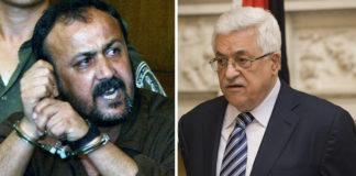 """Der von dem inhaftierten palästinensischen Terroristen Marwan Barghouti (links) erklärte Hungerstreik richtet sich gegen den Vorsitzenden der Palästinensischen Autonomiebehörde, Mahmoud Abbas (rechts). Barghoutis Unterstützer beschuldigen Abbas und dessen Anhänger, den inhaftierten Fatah-Führer beiseiteschieben und """"begraben"""" zu wollen. Foto Gatestone"""