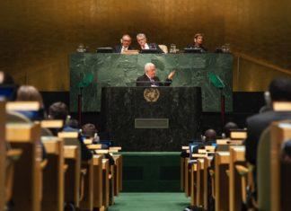 Mahmud Abbas spricht vor den UNO in New York. UN Photo/Cia Pak