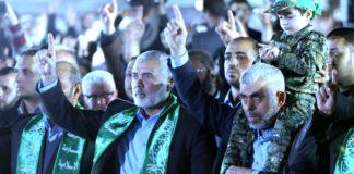 Hamas Führer Ismail Haniyya und Yahya Sanwar währned einer Kundgebung. Foto Alresalah / Twitter