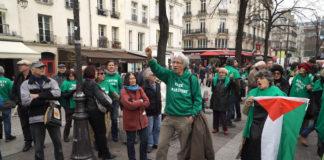 Israel-Boykott Demonstration von BDS Gruppe in Paris. Foto Screenshot Preview Production.