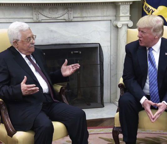 US Präsident Donald Trump mit Mahmoud Abbas im Weissen Haus am 3. Mai 2017. Foto Screenshot White House Video