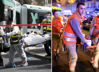 Links: Rettungskräfte tragen die Leiche eines Opfers, das von islamistischen Terroristen, in einem Jerusalemer-Bus erschossen und erstochen wurde. Rechts: Ärzte tragen ein Opfer, das von islamistischen Terroristen, in einem Pariser Lokal angeschossen und verwundet wurde. Foto Gatestone