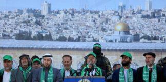 Hamas-Vertreter an einer Kundgebung in Gaza. Foto Hamas
