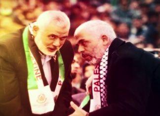 Der Vorsitzende des Hamas Politbüros Ismail Hanija (links) mit dem Chef der Gaza-Hamas, Yahya Sinwar (rechts). Foto Screenshot Youtube
