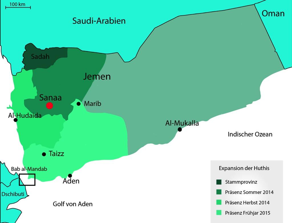 Die Expansion der Huthis 2014/2015, eigene Darstellung, in Anlehnung an: Mapping the Yemen Conflict, European Council on Foreign Relations, http://www.ecfr.eu/mena/yemen.