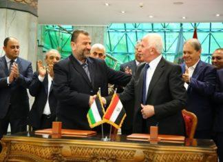 Saleh al-Arouri, Hamas (links) und Azzam al-Ahmad, Fatah (rechts). Foto Screenshot Youtube