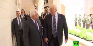 US-Präsident Donald Trump spricht am 23. Mai 2017 in Bethlehem mit dem Präsidenten der Palästinensischen Autonomiebehörde, Mahmoud Abbas. Foto Screenshot Youtube / RT Arabic