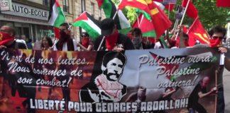Unterstützungs-Kundgebung für den libanesischen Terroristen Georges Abdallah in Paris im Juni 2017. Foto Screenshot Youtube