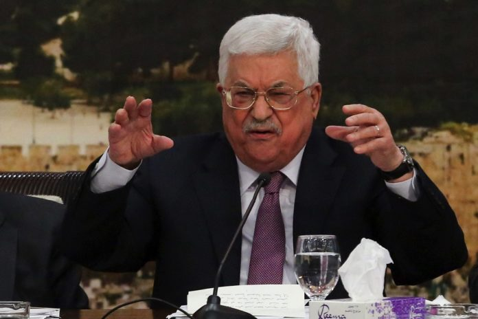 Der Präsident der Palästinensischen Autonomiebehörde, Mahmoud Abbas, sprach am 14. Januar 2018 vor dem PLO-Zentralausschuss in der Stadt Ramallah. Foto Flash90