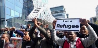 Illegale eritreische Migranten am 22. Januar 2018 in Herzilya. Foto Melanie Lidman/Times of Israel