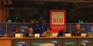 BDS-Gründer Omar Barghouti (rechts) im EU-Parlament am 28. Februar 2018. Foto Twitter