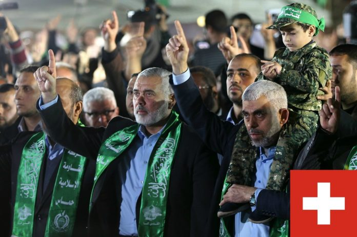 Die beiden Hamas-Führer Yahya Al-Sinwar and Ismail Haniyeh. Foto Al-Resalah