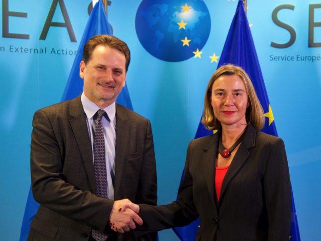 UNRWA-Generalkommissar Pierre Krähenbühl und die Hohe Vertreterin der EU für Aussen- und Sicherheitspolitik Federica Mogherini am 30. Januar 2018 in Brüssel. Foto European Union
