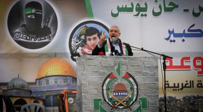 Hamas-Führer Ismail Haniyeh in Khan Yunis im südlichen Gazastreifen am 7. Januar 2016. Foto Abed Rahim Khatib/Flash90.