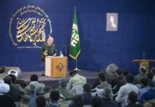 Mohammad Ali Dschafari Kommandant der Revolutionsgarden während einer Konferenz im Februar 2018. Foto Mostafameraji, CC BY-SA 4.0, https://commons.wikimedia.org/w/index.php?curid=66358353