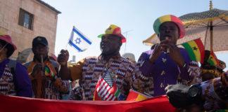 Tausende Christen auf den Strassen Jerusalems um Israel zu feiern. Foto Esty Dziubov/TPS