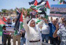 Demonstration gegen den Abriss von Khan al-Ahmar im Juli 2018. Foto Yaniv Nadav/Flash90