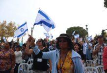 Christen beten auf der Haas-Promenade am 7. Oktober 2018 für den Frieden in Jerusalem. Foto Esty Dziubov/TPS