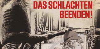 Demo Plakat einer geplanten Kundgebung in Zürich. Unterstützt von Tierrechtsgruppe Zürich, Kommunistische Jugend Schweiz, Bündnis Marxismus und Tierbefreiung, ATAZ, Aktivismus für Tierrechte und weiteren Organisationen. Foto Facebook