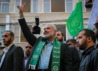 Hamas-Chef Ismail Haniyeh an einer Kundgebung. Foto Emad Nassar/Flash90