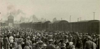 Die Selektion ungarischer Juden auf der Rampe bei Auschwitz-II (Birkenau) in Polen im Mai/Juni 1944. Juden wurden entweder zur Arbeit oder in die Gaskammer geschickt. Mehrere Quellen vermuten, dass der Fotograf Ernst Hoffmann oder Bernhard Walter von der SS war.