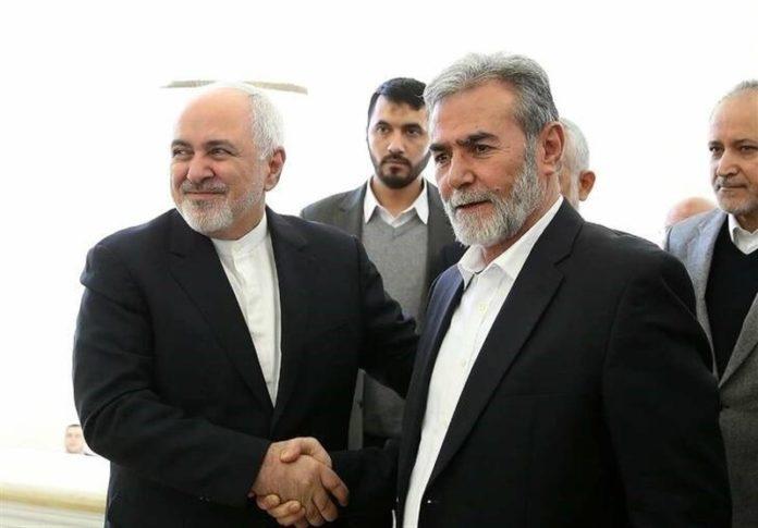 Treffen zwischen Irans Aussenminister Mohammed Dschawad Sarif (links) und dem Generalsekretär des palästinensischen islamischen Jihad, Ziad Al-Nakhaleh (rechts). Foto IRNA / Tasimnews