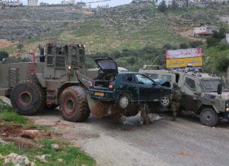 Israelische Sicherheitskräfte an dem Ort, an dem palästinensische Terroristen am 4. März 2019 israelische Soldaten überfahren haben. Foto STR/Flash90.