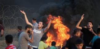 Aufruf an Zivilisten, die Grenze zu Israel zu stürmen. Foto Flash90